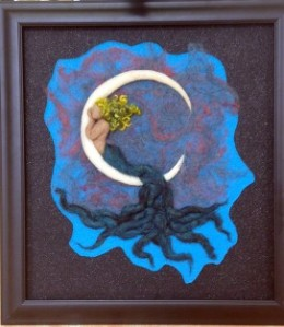 Wanton Waning by Mamalina Knots Felted Fine Art