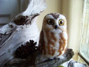 Needle Felted Owl by Peaches Products